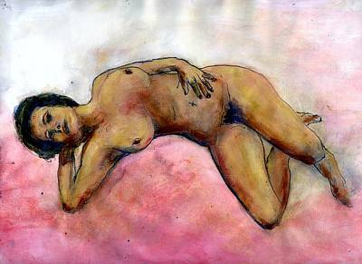 Nude Maria On Pink Sheets Art Print by Randy Sprout