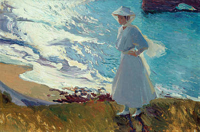 Contre-jour Painting - Maria On The Beach At Biarritz Or Contre-jour by Joaquin Sorolla