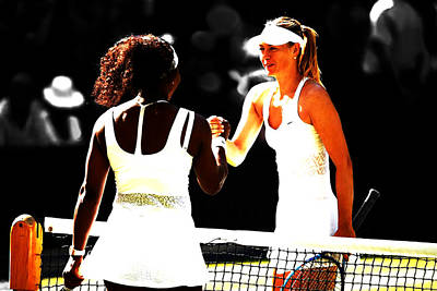 Maria Sharapova And Serena Williams Rivalry Art Print by Brian Reaves