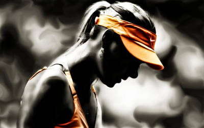 Serena Williams Digital Art - Maria Sharapova Deep Focus by Brian Reaves