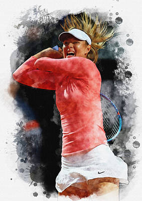 Wta Digital Art - Maria Sharapova Of Russia In Action by Don Kuing