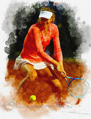 Maria Sharapova Digital Art - Maria Sharapova Of Russia In Action During Her Match Against Vic by Don Kuing