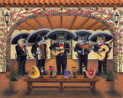 Painting - Mariachi Meow-sic by Don Roth