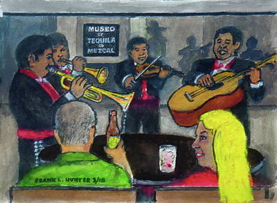 Painting - Mariachi Serenade At Garibaldi Square In Ciudad Mexico by Frank Hunter