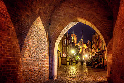 Old Brick Building Photograph - Mariacka By Night  by Carol Japp