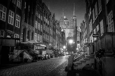 Photograph - Mariacka By Night In Black And White by Carol Japp