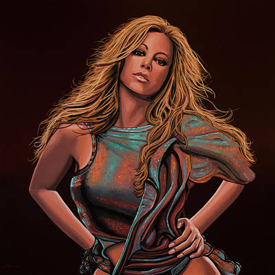 Mariah Carey Painting Print by Paul Meijering