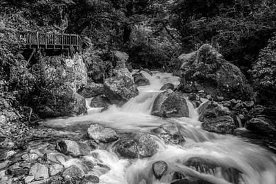 Marian Photograph - Marian Cascade New Zealand Bw by Joan Carroll