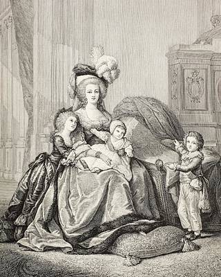 Marie-antoinette And Her Children. From Art Print by Vintage Design Pics