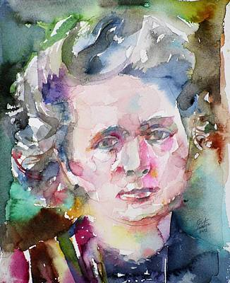 Painting - Marie Curie - Watercolor Portrait.2 by Fabrizio Cassetta