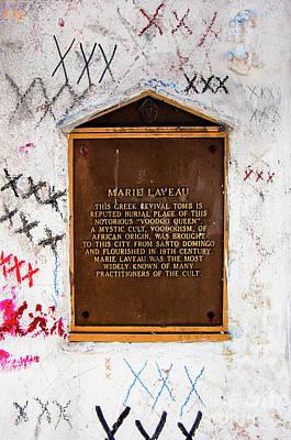 Photograph - Marie Laveau Tomb Historical Marker- Nola by Kathleen K Parker