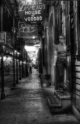 Marie Laveau's House Of Voodoo At Night In Black And White Art Print by Greg Mimbs
