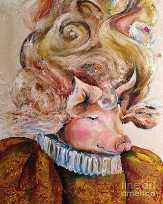 Piggies Painting - Marie Pigtoinette by Christy  Freeman