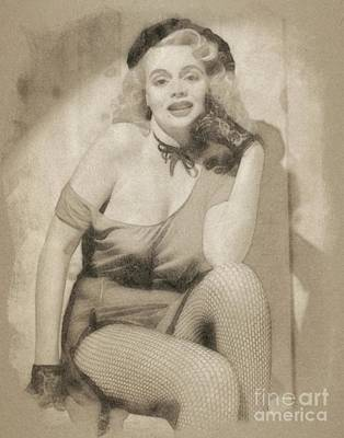 Musicians Drawings - Marie Wilson, Vintage Actress by John Springfield by Esoterica Art Agency