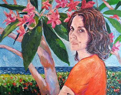 Painting - Mariela With Frangipanis by Herschel Pollard