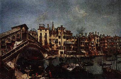 Marieschi Michele The Rialto Bridge From The Riva Del Vin Art Print