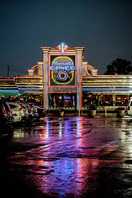 Photograph - Marietta Diner In The Rain by Anthony Doudt