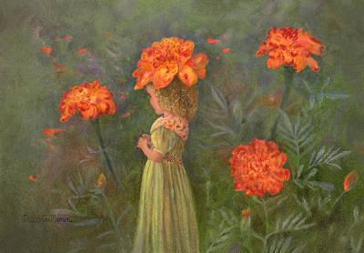 Painting - Marigold Flower Fairy by Nancy Lee Moran