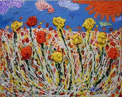 Painting - Marigold Flower Garden by Gh FiLben