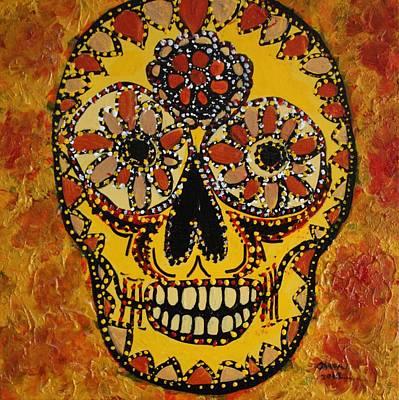 Painting - Marigold Skull by Gitta Brewster