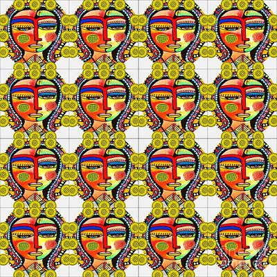 Mixed Media - Marigold Talavera Tile Virgin Of Guadalupe  by Sandra Silberzweig