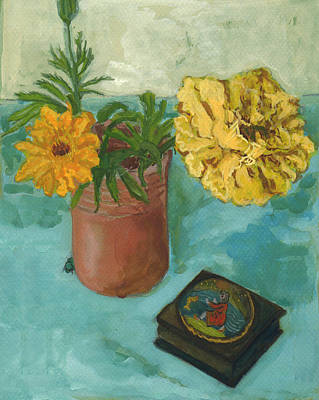 Greek Icon Painting - Marigolds And June Bugs by Laura Wilson