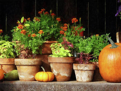 Photograph - Marigolds And Pumpkins by Susan Savad