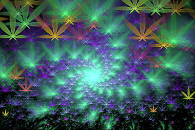 Digital Art - Marijuana Art Colorful Fractal Spiral Green Purple Orange by Matthias Hauser