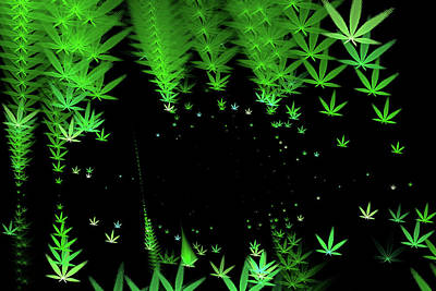 Weed Digital Art - Marijuana Matrix Green And Black Weed Art by Matthias Hauser