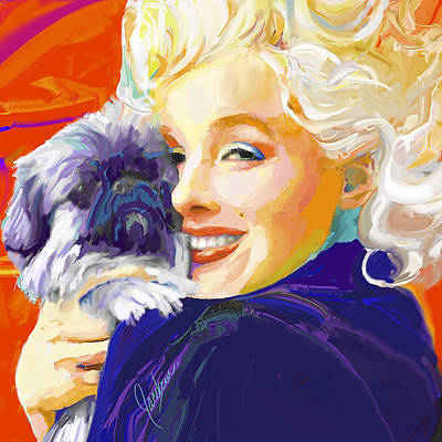 Marilyn Monroe Painting - Marilyn 3 With Dog by Jackie Jacobson