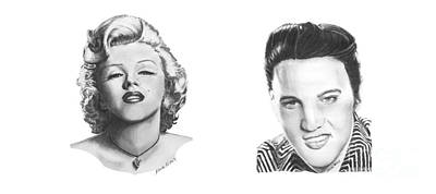 Drawing - Marilyn And Elvis by Marianne NANA Betts