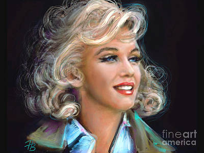Portrait Painting - Marilyn Blue  by Angie Braun