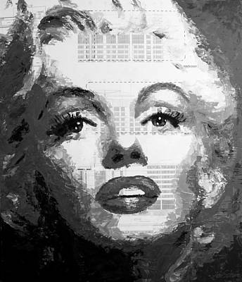 Painting - Marilyn Blueprints Bw by Havi