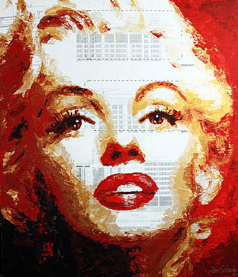 Painting - Marilyn Blueprints by Havi