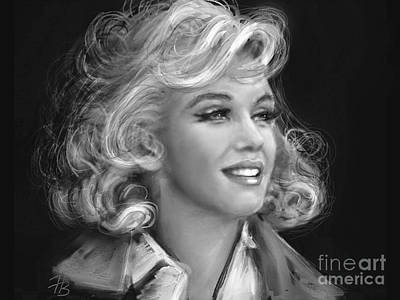 Portrait Painting - Marilyn Bw by Angie Braun