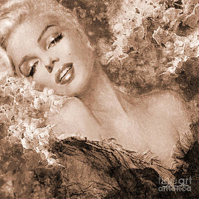 Painting - Marilyn Cherry Blossoms, Sepia by Theo Danella