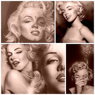 Famous Model Painting - Marilyn Collage by Christian Chapman Art
