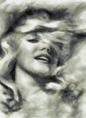 Marilyn Monroe Drawing - Marilyn Dreamy By Mary Bassett by Mary Bassett