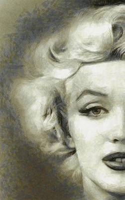 Marilyn Monroe Drawing - Marilyn Face Off By Mary Bassett by Mary Bassett