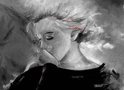 Portrait Study Mixed Media - Marilyn In Black And White Study by Mark Tonelli