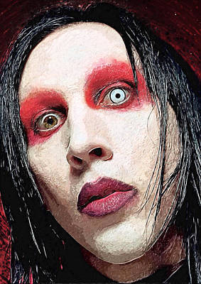 Music Digital Art - Marilyn Manson by Taylan Apukovska