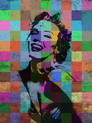 Actors Mixed Media - Marilyn Monroe Actor Hollywood Pop Art Patchwork Portrait Pop Of Color by Design Turnpike