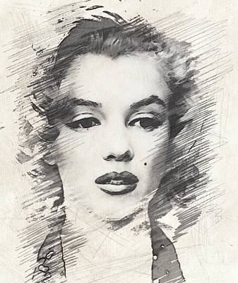 Musicians Drawings Rights Managed Images - #Marilyn Monroe, Actress and Model Royalty-Free Image by Esoterica Art Agency