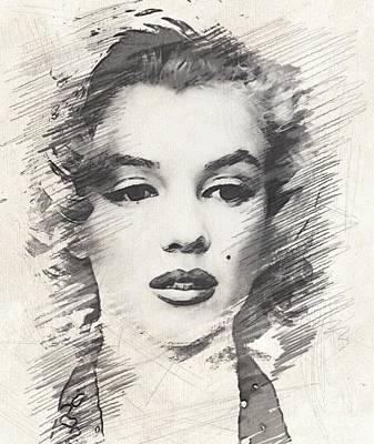 Marilyn Monroe Drawing - #marilyn Monroe, Actress And Model by John Springfield