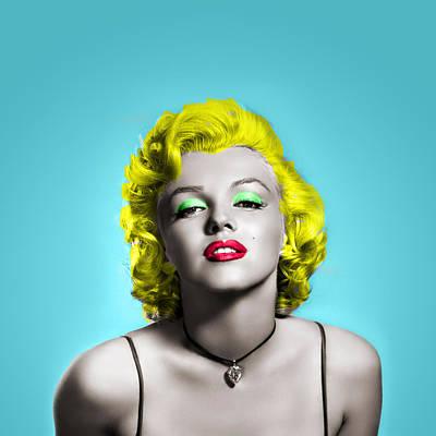 Monroe Digital Art - Marilyn Monroe And Blue by Vitor Costa