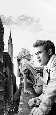 Rooftops Mixed Media - Marilyn Monroe And James Dean New York  Iphone 6 Plus Cover Case 2014 by BRAILLIANT Contemporary Fashion Pop Art Prints