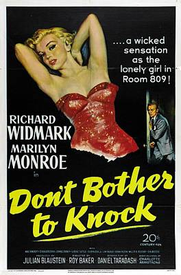 Photograph - Marilyn Monroe And Richard Widmark In Don't Bother To Knock by R Muirhead Art