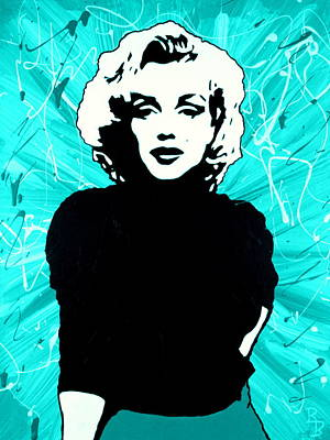 Painting - Marilyn Monroe Blue Green Aqua Tint by Bob Baker
