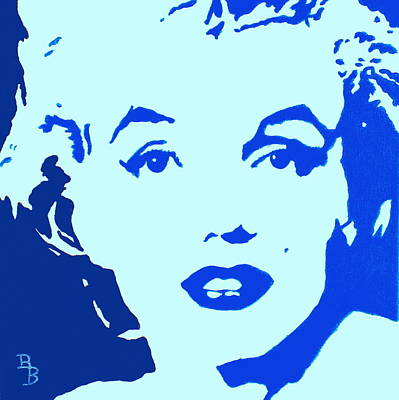 Marilyn Monroe Blue Pop Art Portrait Original by Bob Baker