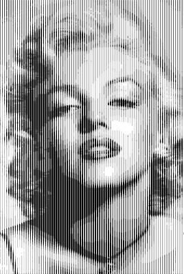 Digital Art - Marilyn Monroe - Bw Verticals  by Samuel Majcen